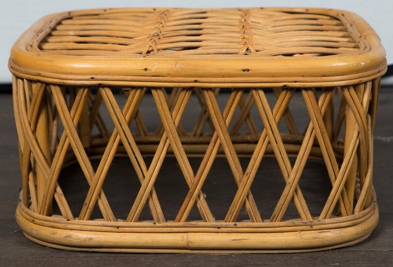 Mid-20th Century Two Rattan Pieces Small Cylindrical Table, Small Square Ottoman For Sale