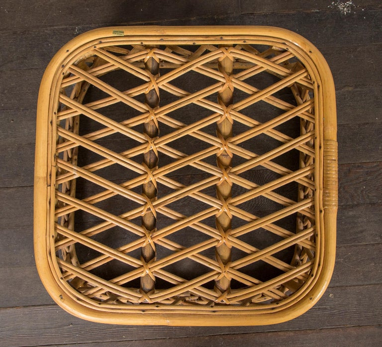 Two Rattan Pieces Small Cylindrical Table, Small Square Ottoman For Sale 1