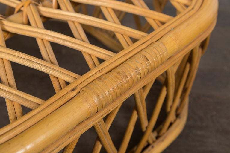 Two Rattan Pieces Small Cylindrical Table, Small Square Ottoman For Sale 2