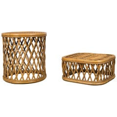 Two Rattan Pieces Small Cylindrical Table, Small Square Ottoman