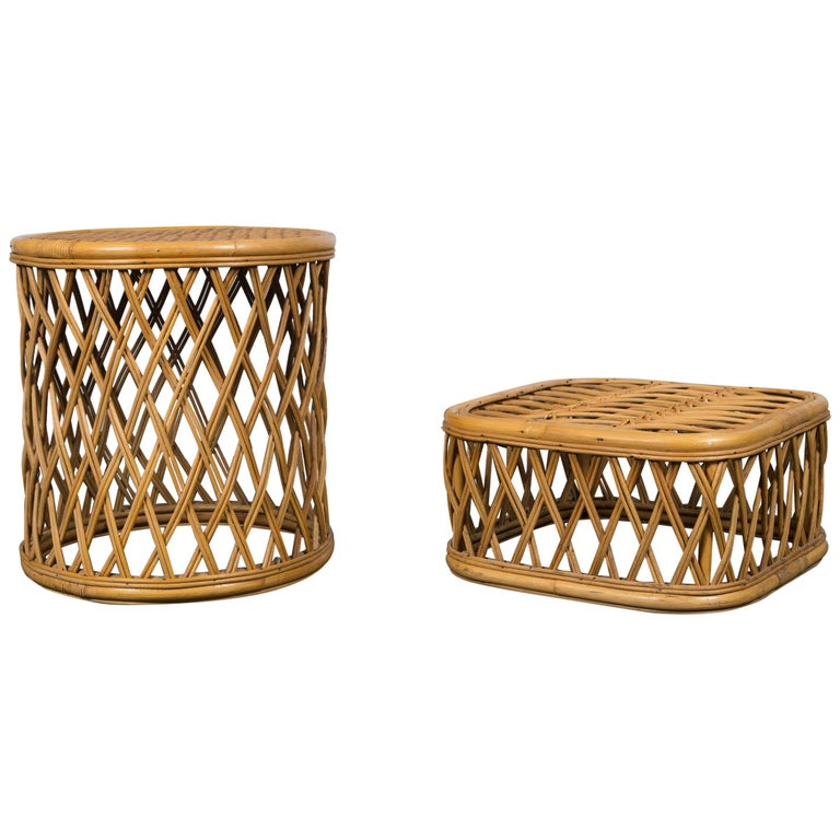 Two Rattan Pieces Small Cylindrical Table, Small Square Ottoman For Sale
