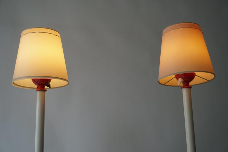 Two Red and White Floor Lamps For Sale 3
