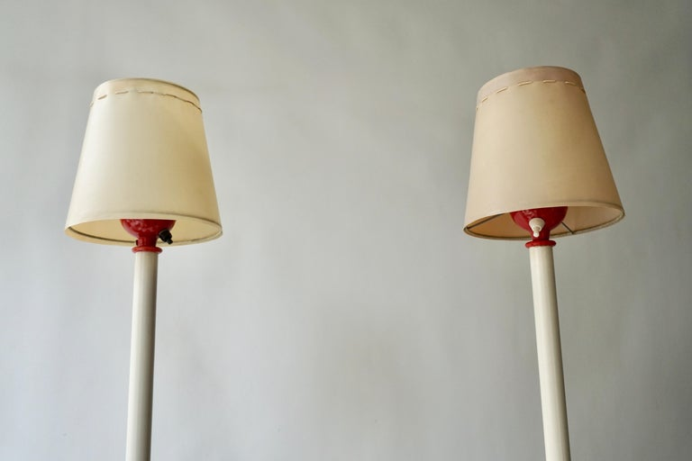 Two Red and White Floor Lamps For Sale 4