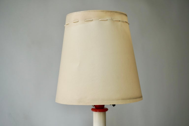 Two Red and White Floor Lamps For Sale 5