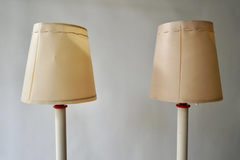 Two Red and White Floor Lamps For Sale 6