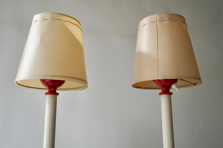 Two Red and White Floor Lamps For Sale 7