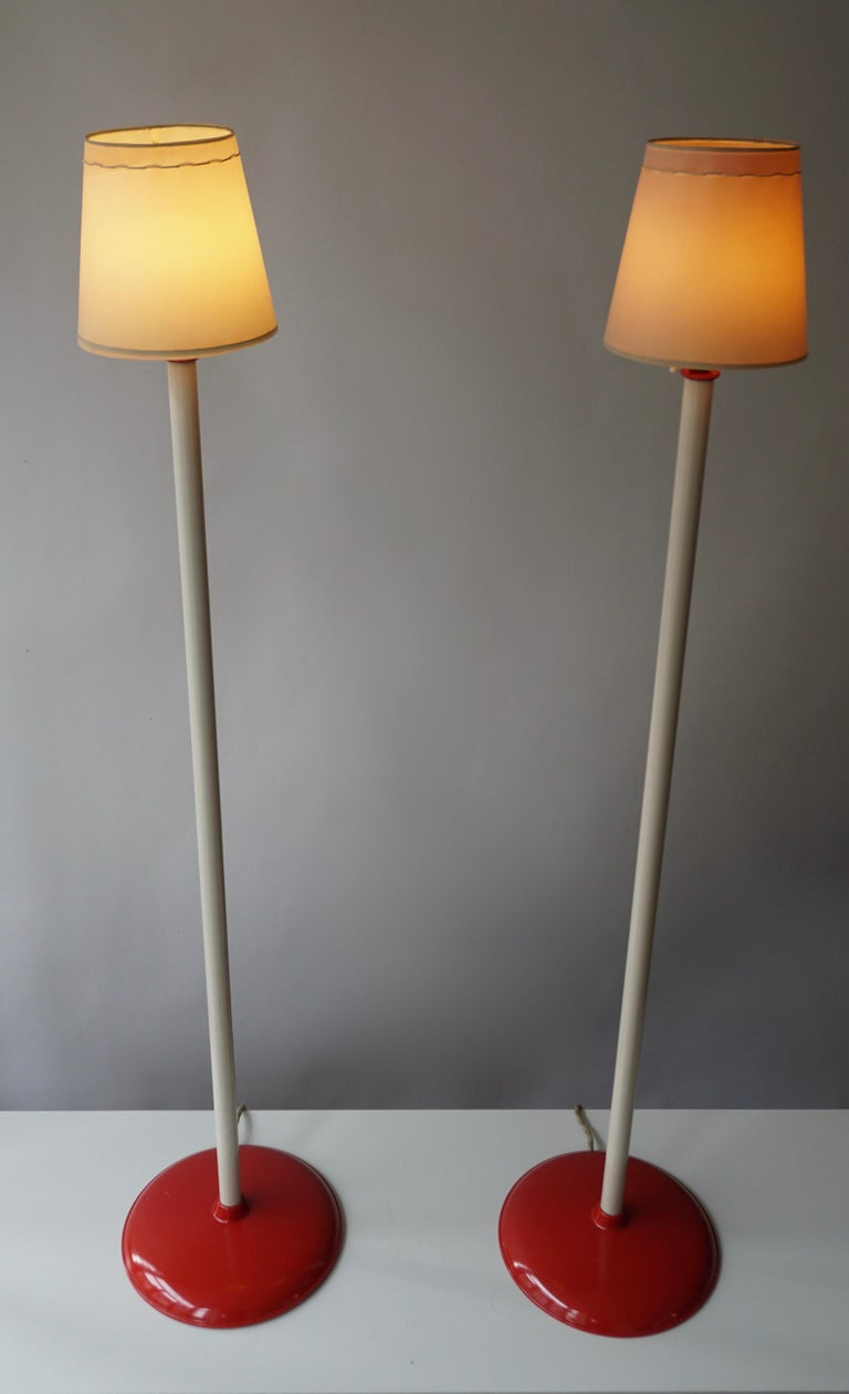 Mid-Century Modern Two Red and White Floor Lamps For Sale