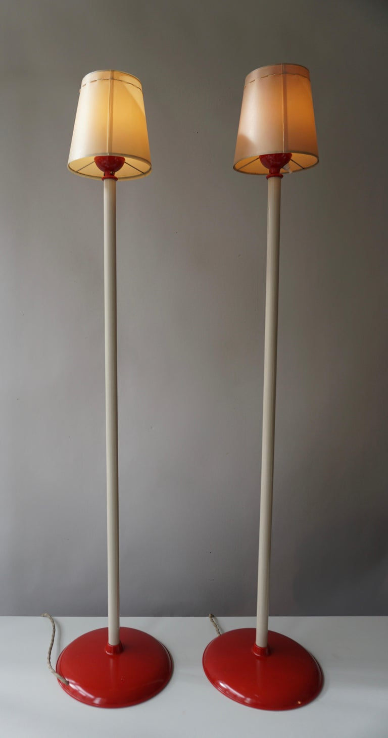 German Two Red and White Floor Lamps For Sale
