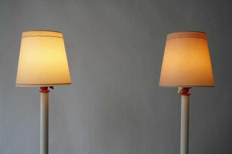 20th Century Two Red and White Floor Lamps For Sale
