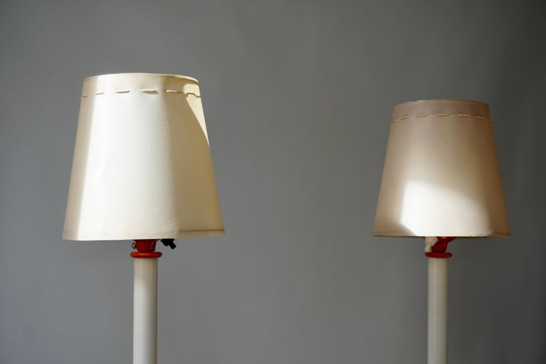 Metal Two Red and White Floor Lamps For Sale