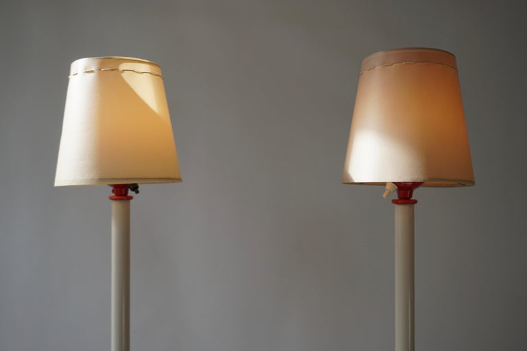 Two Red and White Floor Lamps For Sale 1