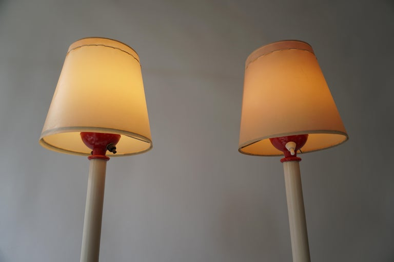 Two Red and White Floor Lamps For Sale 2