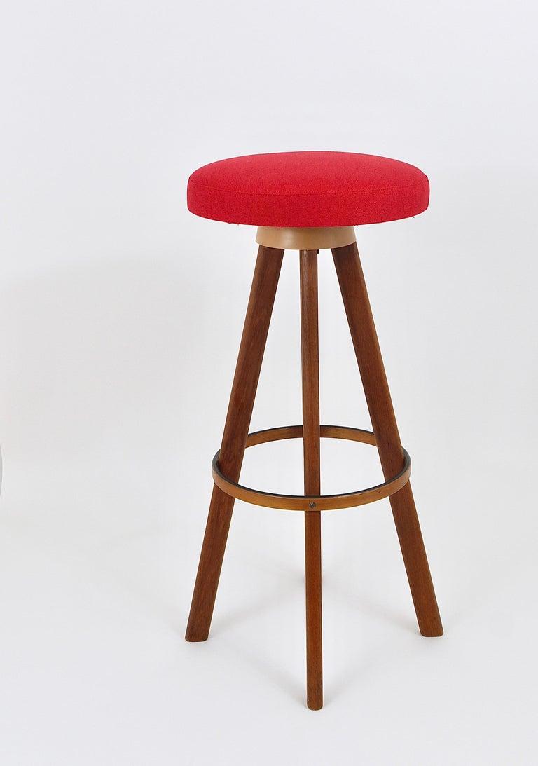 Two Red Hans Olsen Danish Modern Teak Bar Stools, Frem Rojle, Denmark, 1960s 5