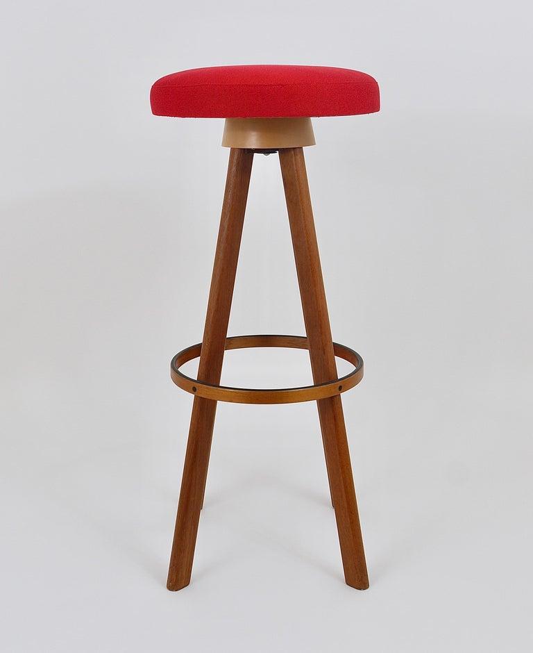 Fabric Two Red Hans Olsen Danish Modern Teak Bar Stools, Frem Rojle, Denmark, 1960s