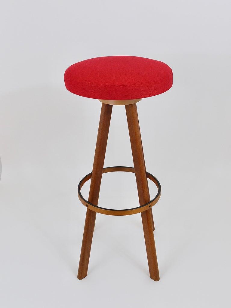 Two Red Hans Olsen Danish Modern Teak Bar Stools, Frem Rojle, Denmark, 1960s 3