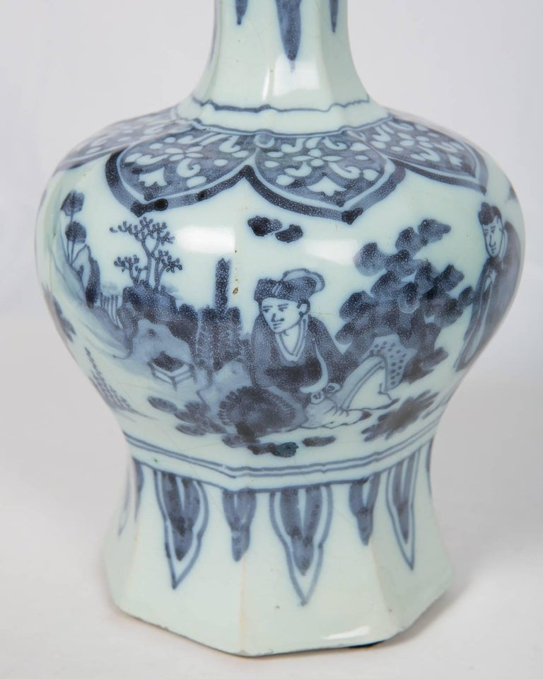 Chinoiserie Two Related Blue and White Delft Vases 17th Century For Sale