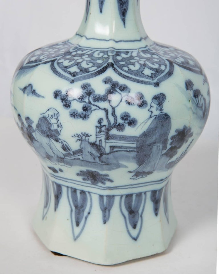 Dutch Two Related Blue and White Delft Vases 17th Century For Sale