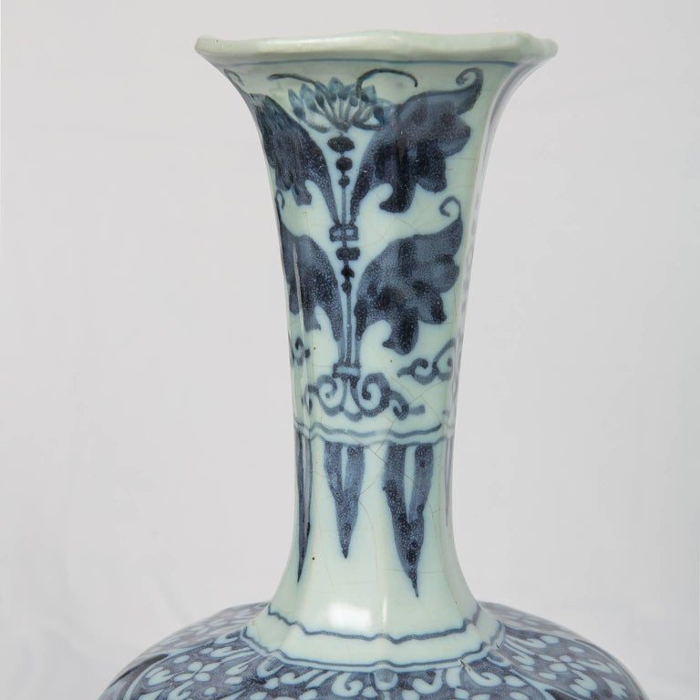 Hand-Painted Two Related Blue and White Delft Vases 17th Century For Sale
