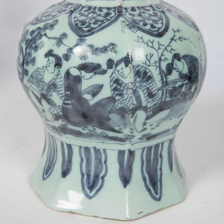 Two Related Blue and White Delft Vases 17th Century In Good Condition For Sale In New York, NY