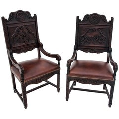 Two Renaissance Wooden Armchairs