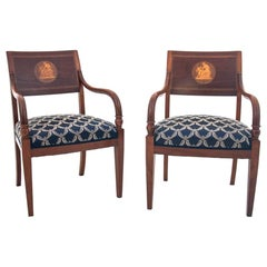 Two Restored Antique Empire Armchairs, Sweden, 1850