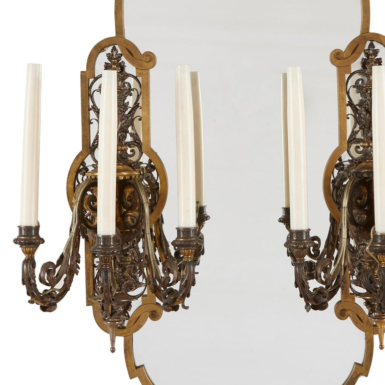 French Two Rococo Style Gilt and Silvered Metal Girandoles For Sale