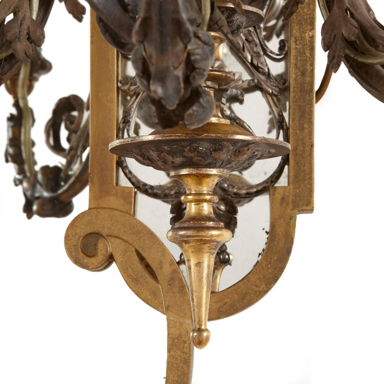Two Rococo Style Gilt and Silvered Metal Girandoles For Sale 1