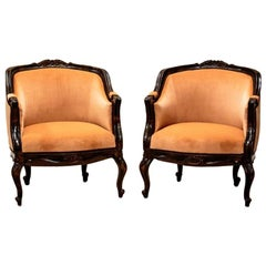 Two Rococo Walnut Armchairs, circa 1920, after the Replacement of Upholstery