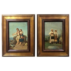 Two Roman School Oil on Canvas Made in Italy in 1870