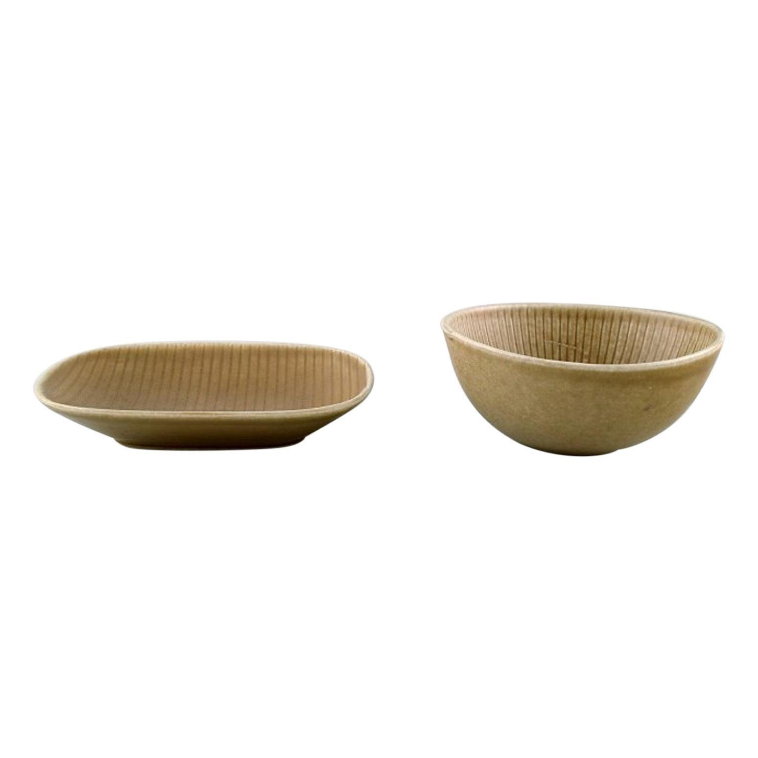 "Two Rörstrand ""Ritzi"" Bowls in Glazed Ceramics, Sweden, 1960s"