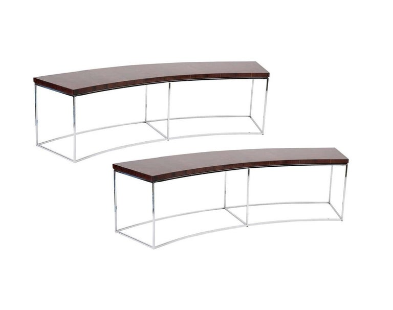 Mid-Century Modern Two Rosewood and Chrome Curved Sofa Tables by Milo Baughman For Sale