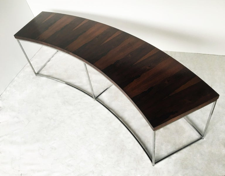Mid-20th Century Two Rosewood and Chrome Curved Sofa Tables by Milo Baughman For Sale