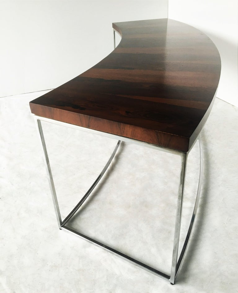 American Two Rosewood and Chrome Curved Sofa Tables by Milo Baughman For Sale