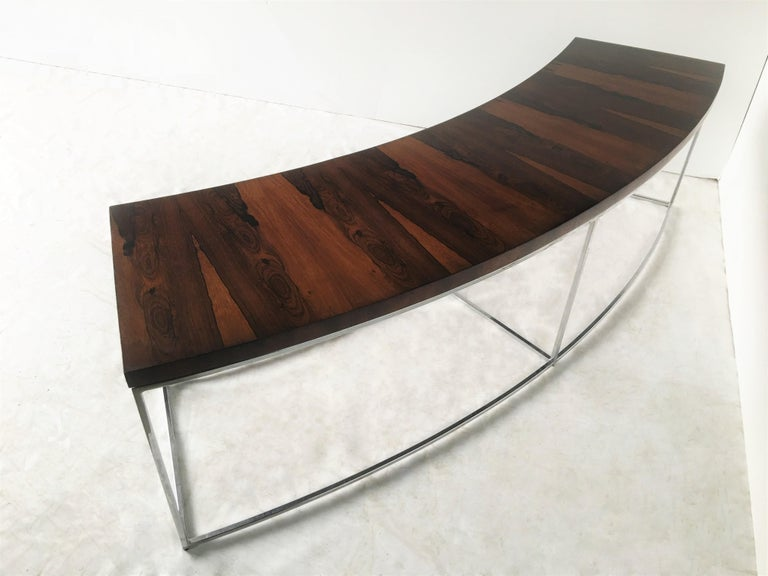 Two Rosewood and Chrome Curved Sofa Tables by Milo Baughman In Good Condition For Sale In Dallas, TX