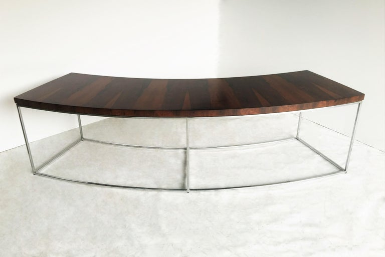 Two Rosewood and Chrome Curved Sofa Tables by Milo Baughman For Sale 1