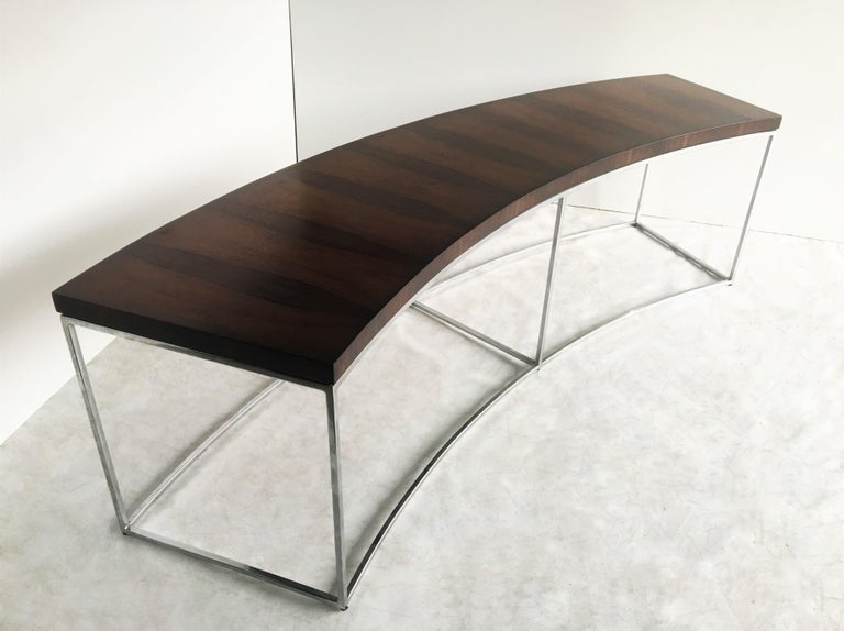 Two Rosewood and Chrome Curved Sofa Tables by Milo Baughman For Sale 3