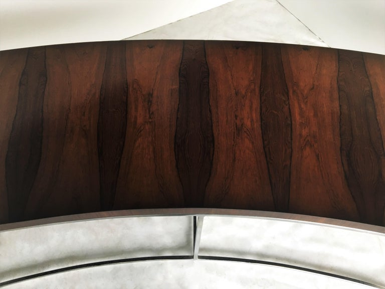 Two Rosewood and Chrome Curved Sofa Tables by Milo Baughman For Sale 4