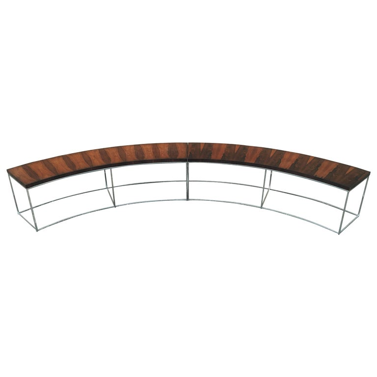 Two Rosewood and Chrome Curved Sofa Tables by Milo Baughman For Sale