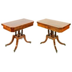 Two Rosewood & Satinwood Card Tables, 19th Century