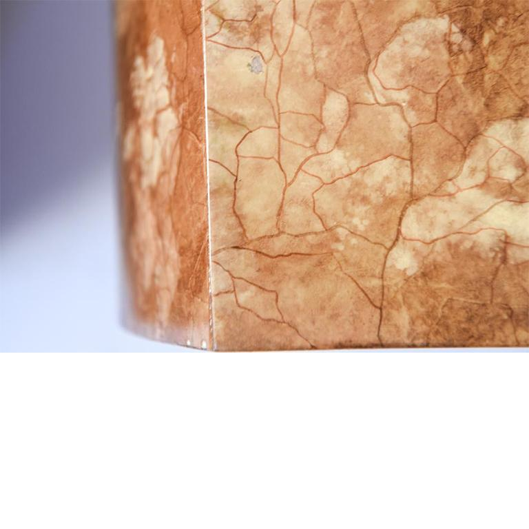 Hollywood Regency Baker Pink or Rose Burl Nightstands with Open Center and Pull Out Tops - a Pair