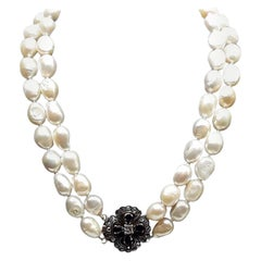 Two Rounds of Pearls Pendant in Gold Blue Sapphire and Central Diamond Necklaces