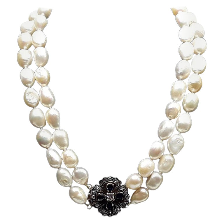 Two Rounds of Pearls Pendant in Gold Blue Sapphire and Central Diamond Necklaces For Sale