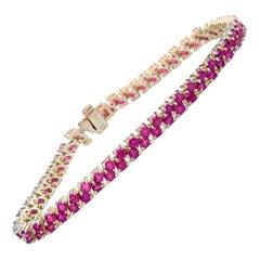 Two-Row 11.00 Carat Ruby Bracelet Yellow Gold