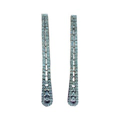 Two Row Diamond Dangle Earrings