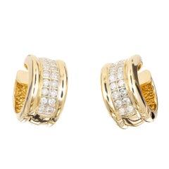.70 Carat Two-Row Diamond Gold Huggie Hoop Earrings