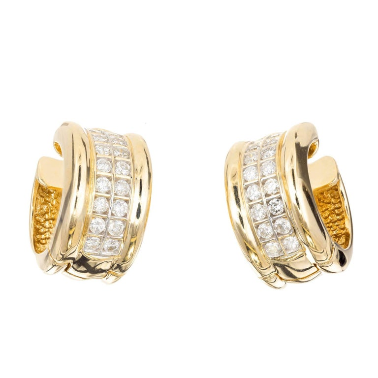 70 Carat Two Row Diamond Gold Huggie Hoop Earrings For