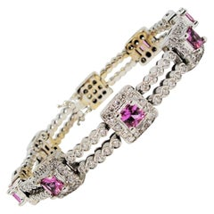 Two-Row Diamond Line Bracelet with Pink Sapphire Stations 18 Karat White Gold