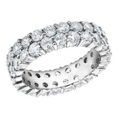Two-Row Diamond Prong Set Eternity Gold Ring Weighing 3.30 Carat