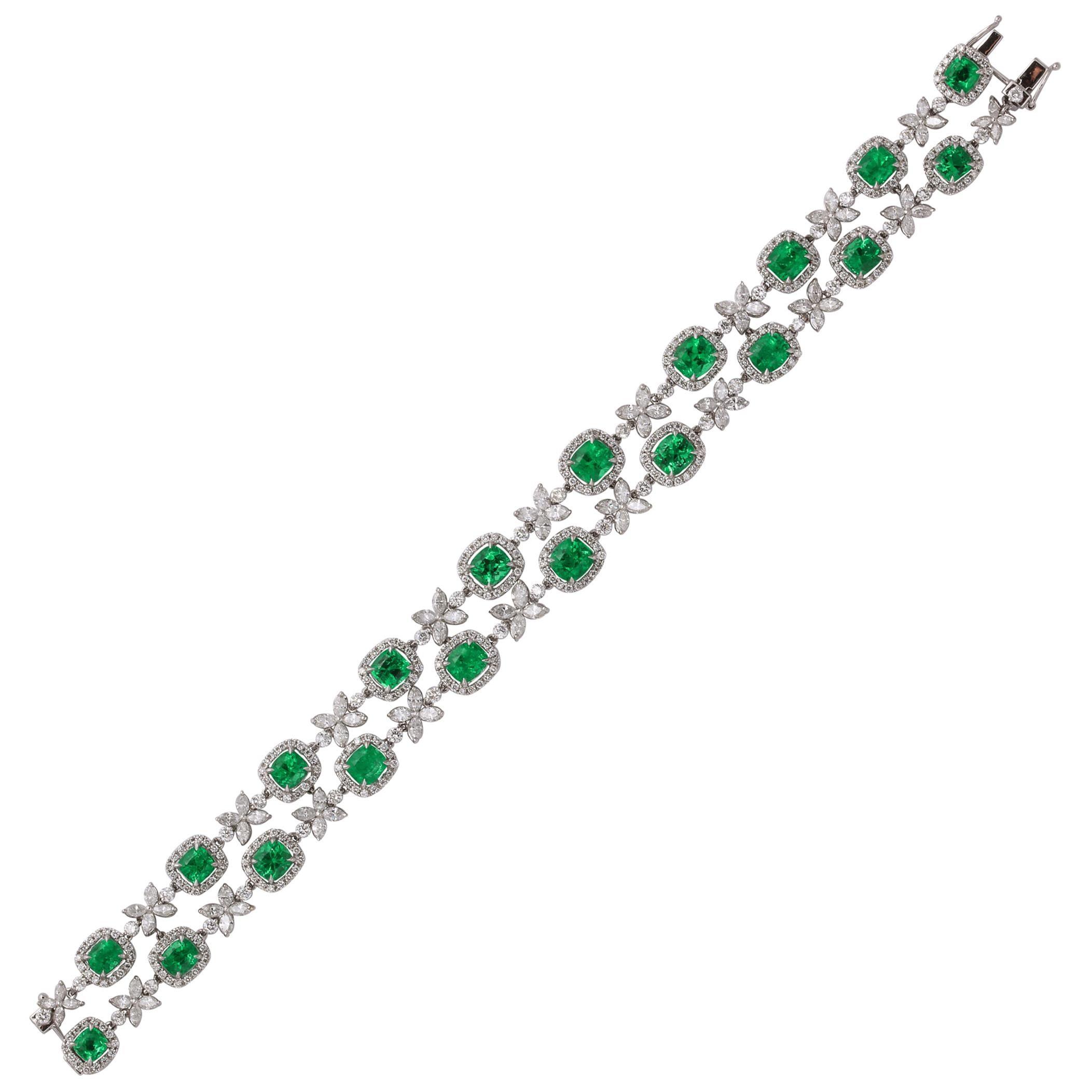 Two Row Emerald and Diamond Bracelet