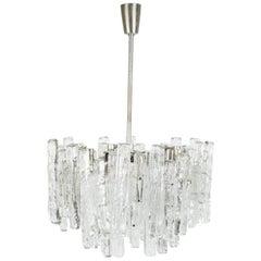Two Row Kalmar Matte Ice Glass Chandelier, Austria, 1960s